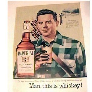 1955 Imperial Whiskey Print Ad Bow Hunting Deer